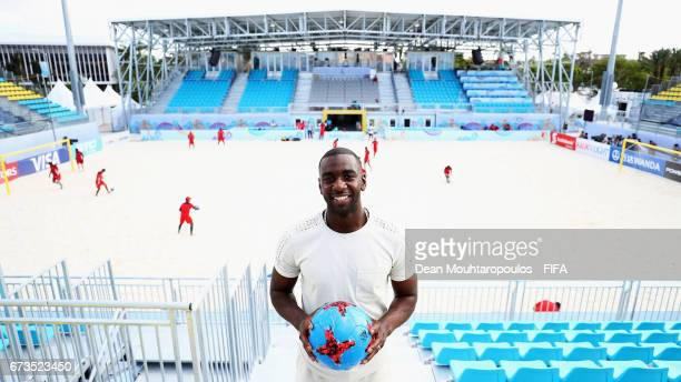 Premier League football player with Everton Football Club Yannick Bolasie poses during the Brazil training session before the FIFA Beach Soccer World...