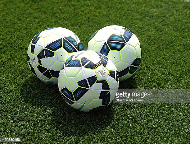 Premier League footballs during a training sesion at London Colney on July 18 2014 in St Albans England
