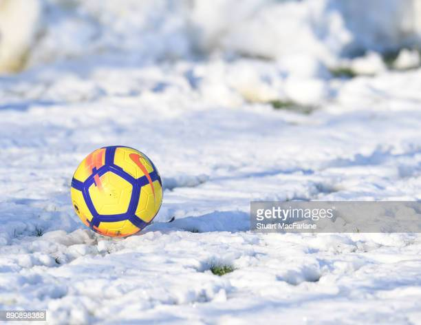Premier League winter football in the snow during a training session at London Colney on December 12 2017 in St Albans England
