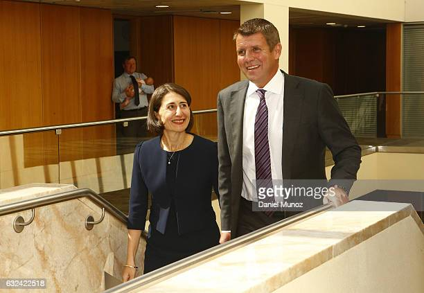 Premier Mike Baird and Gladys Berejiklian arrive to the Liberal Party meeting to choose their Leader after the resignation of Mike Baird on January...