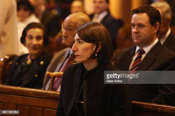 Premier of New South Wales Gladys Berejiklian attends the State Funeral service for Les Murray at St Mary's Cathedral on August 14 2017 in Sydney...