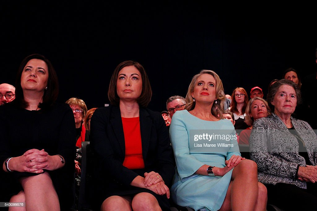 Premier of Queensland <a gi-track='captionPersonalityLinkClicked' href=/galleries/search?phrase=Annastacia+Palaszczuk&family=editorial&specificpeople=9081904 ng-click='$event.stopPropagation()'>Annastacia Palaszczuk</a>, MP Terri Butler, Chloe Shorten and Dallas Hayden look on as Leader of the Opposition, Australian Labor Party Bill Shorten addresses the audience at the Brisbane Convention and Exhibition Centre on June 26, 2016 in Brisbane, Australia. Bill Shorten is campaigning heavily on Medicare, promising to make sure it isn't privatised if the Labor Party wins the Federal Election on July 2.
