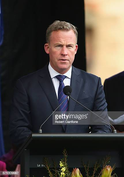 Premier of Tasmania Will Hodgman during the 20th anniversary commemoration service of the Port Arthur massacre on April 28 2016 in Port Arthur...