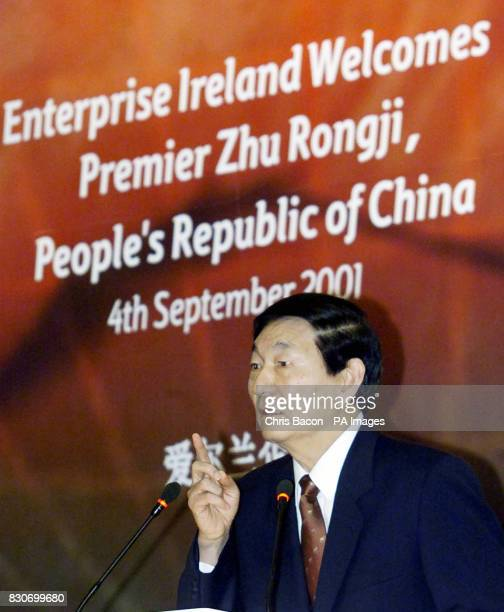 Premier of the People's Republic of China Zhu Rongji speaking at a business breakfast at a Dublin hotel on the third day of his four day official...