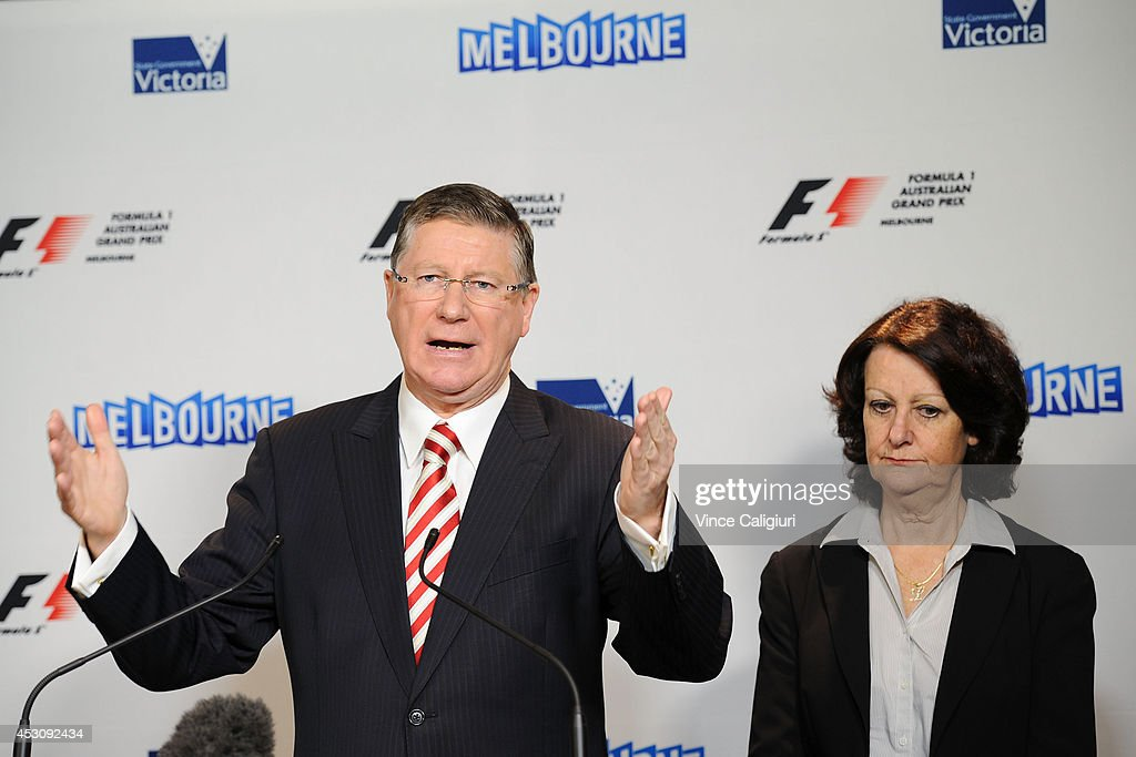 Premier of Victoria, the Hon Dr Denis Napthine and Louise Asher , Minister for Tourism speak to the media during an AGPC media announcement at the State Government Office on August 3, 2014 in Melbourne, Australia.