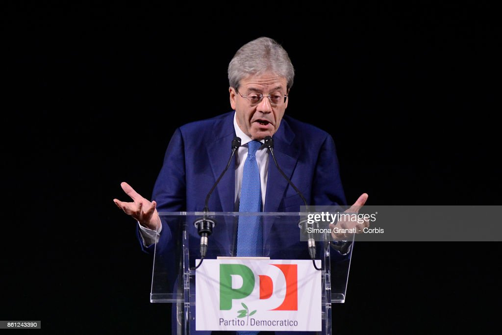 Premier Paolo Gentiloni partecipates at 'Born Democrats', event to celebrate 10 years since the birth of the Democratic Party (Partito Democratico) at the Eliseo Theatre, on October 14, 2017 in Rome, Italy.
