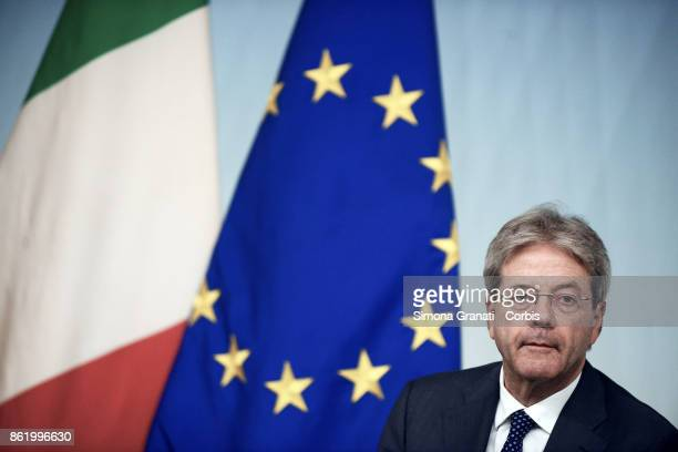 Premier Paolo Gentiloni speaking at a press conference after cabinet on the 2018 budget bill just approved by cabinet on October 16 2017 in Rome Italy
