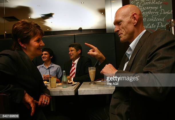 Premier Steve Bracks with Minister Bronwyn Pike and R Fed Labor Member for Kinsgsford Smith Peter Garrett Having a coffee at Brunetti's in Carlton...