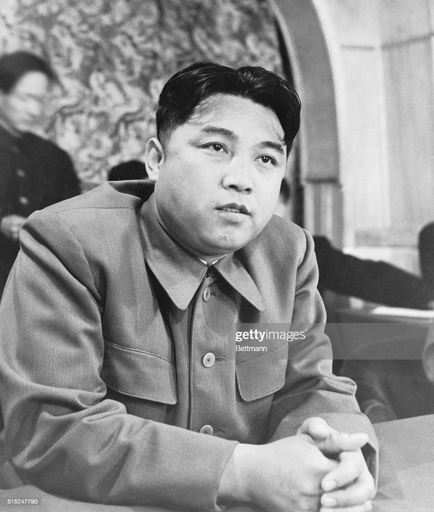Premiere Kim IL Sung of North Korea is pictured during a reception given for Russian women, which included members of the Commission of the Women's International Democratic Federation, investigating alleged atrocities in Korea.