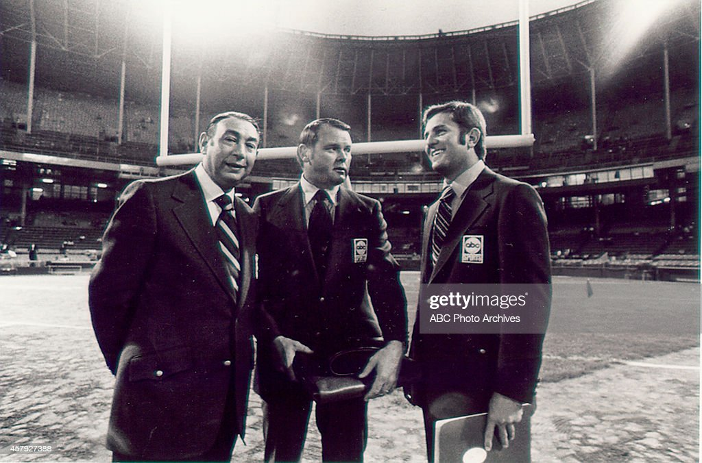 FOOTBALL - Premiere - NY Jets vs. Cleveland Browns - 9/21/70 On September 21, 1970 the lights went on and an American institution began - ABC's NFL 'Monday Night Football' premiered with a game between the New York Jets and the Cleveland Browns. Howard Cosell, Keith Jackson and Don Meredith (l-r) called the game action. The ABC Television Network program is the longest running primetime sports series in television history.