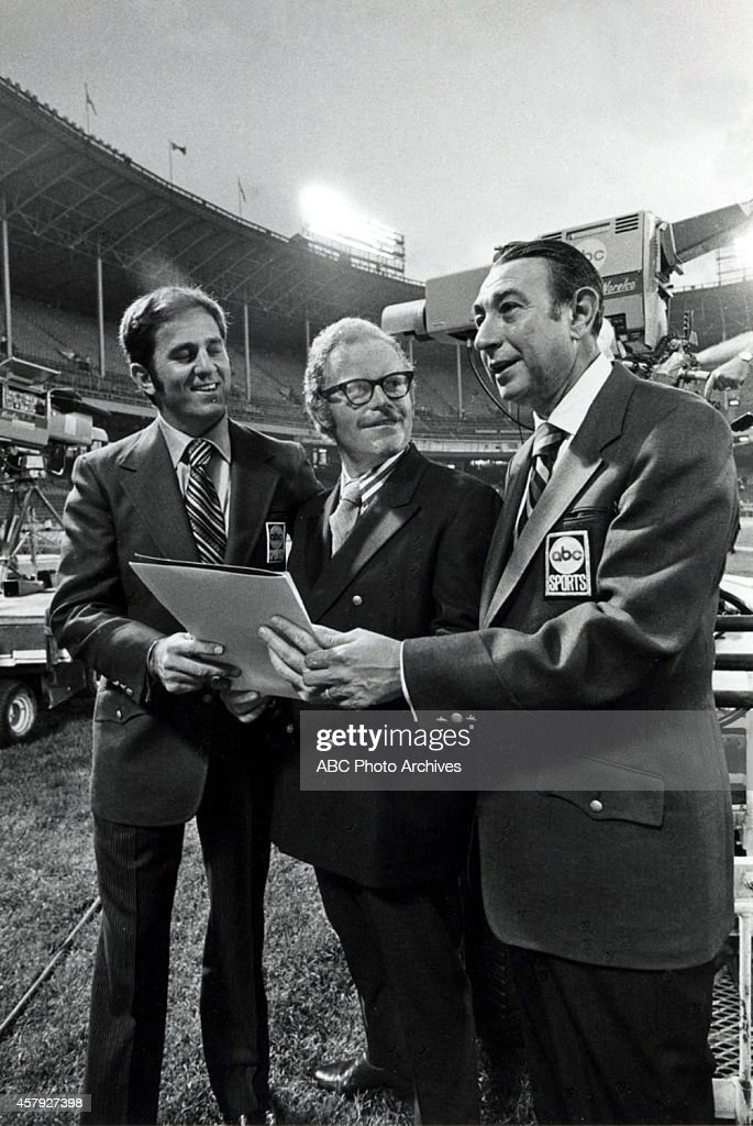 FOOTBALL - Premiere - NY Jets vs. Cleveland Browns - 9/21/70 On September 21, 1970 the lights went on and an American institution began - ABC's NFL 'Monday Night Football' premiered with a game between the New York Jets and the Cleveland Browns. Don Meredith (left), Howard Cosell (right) and Keith Jackson called the game action. The ABC Television Network program is the longest running primetime sports series in television history. Meredith and Cosell with Roone Arledge.