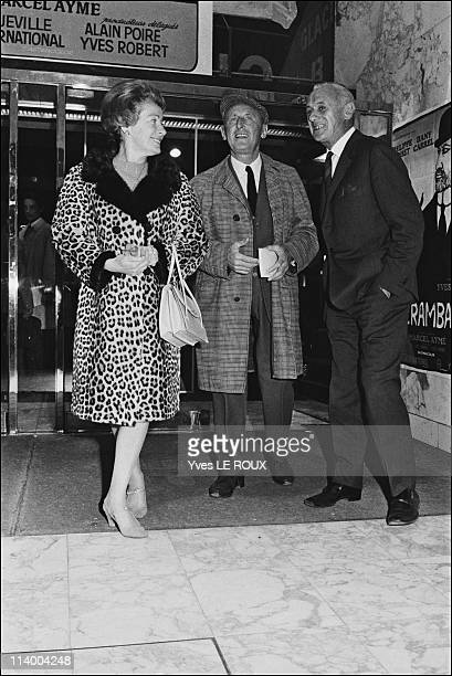 Premiere of 'Clerambard' by Yves Robert in Paris France on October 03 1969Bourvil and wife