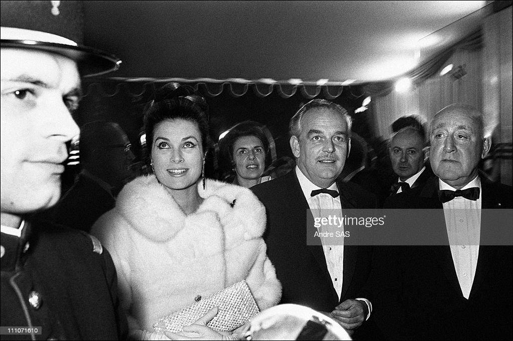 Premiere Of 'Grand Prix' Film Rainier Of Monaco And Grace Prince Rainier And Princess Grace In Paris France In 1967