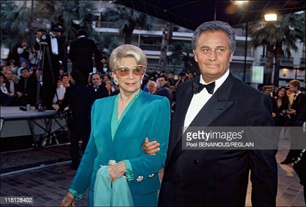 Premiere of 'Il portaborse' at the Cannes film festival in Cannes France on May 11 1991 Christine Gouze Renal and her husband Roger Hanin