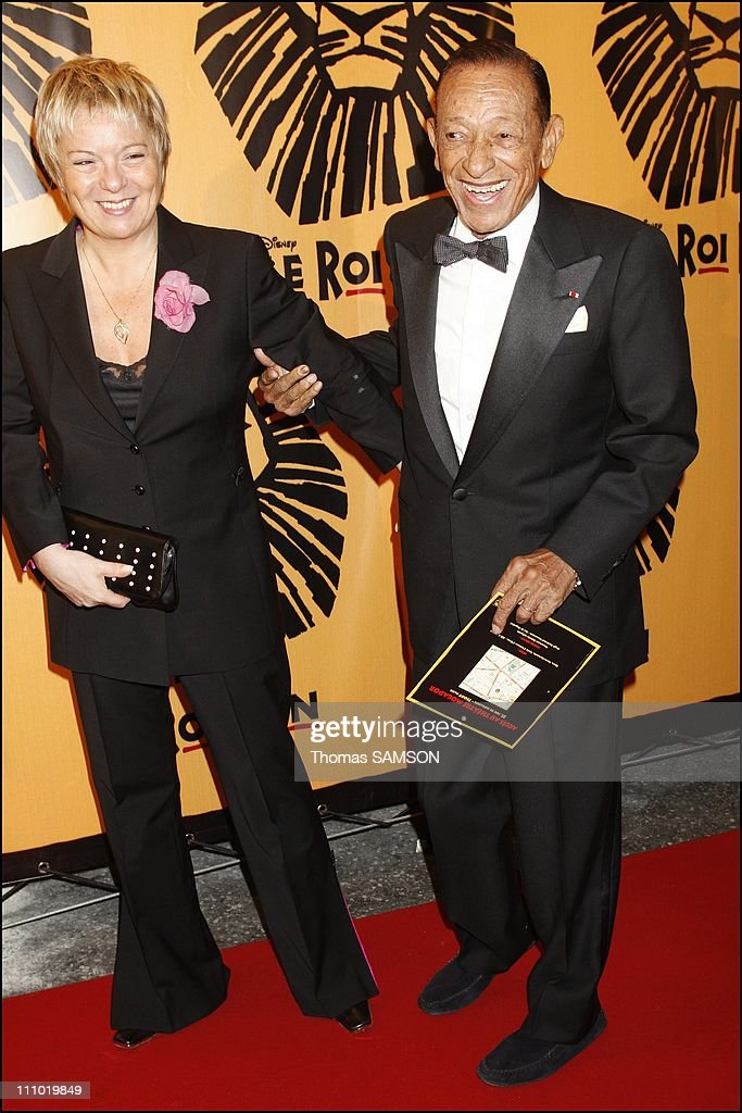 Premiere of the musical comedy 'The Lion King' at the Theatre Mogador in Paris France on October 4th 2007 Henri Salvador and his wife