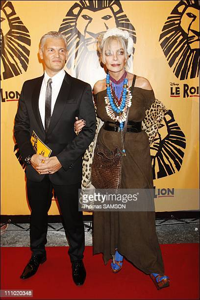 Premiere of the musical comedy 'The Lion King' at the Theatre Mogador in Paris France on October 4th 2007 Marie Laforet and her husband
