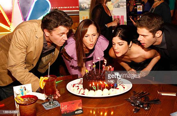Actors John Michael Higgins Molly Shannon Selma Blair and Mikey Day blowing out candles during the premiere party for NBC's 'Kath Kim' held at the...
