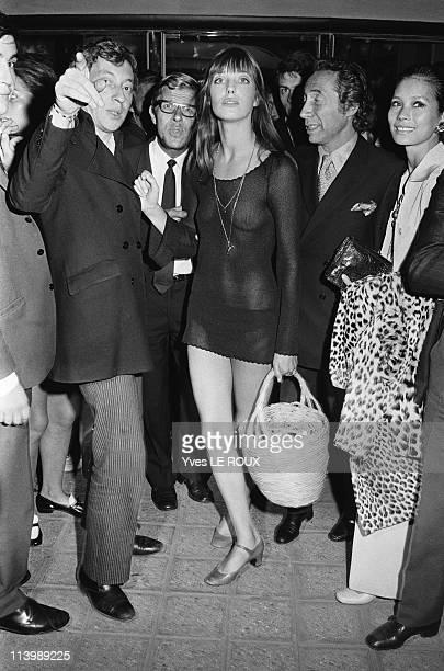 Premiere 'Slogan' by Pierre Grimblat in Paris France on August 28 1969 Serge Gainsourg Jane Birkin and Pierre Grimblat