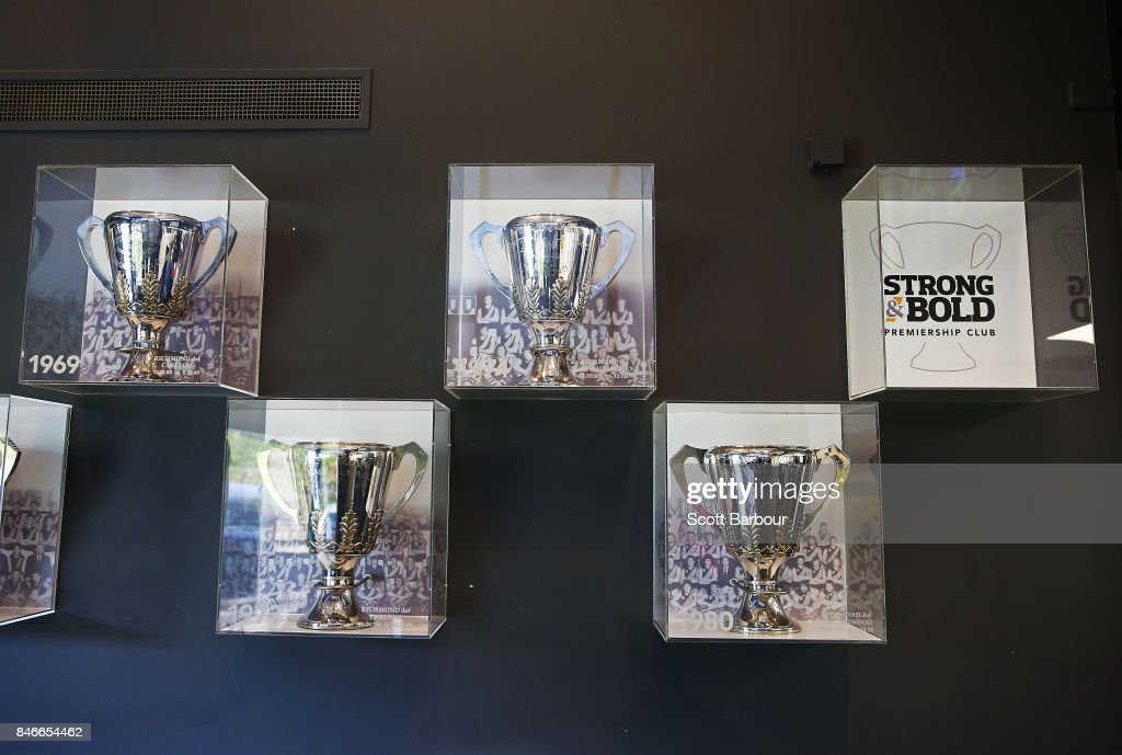 Premiership Cups won by the Tigers sit on display at Punt Road Oval, with a spare space for their next Premiership Cup left vacant during a Richmond Tigers AFL training session at Punt Road Oval on September 14, 2017 in Melbourne, Australia.