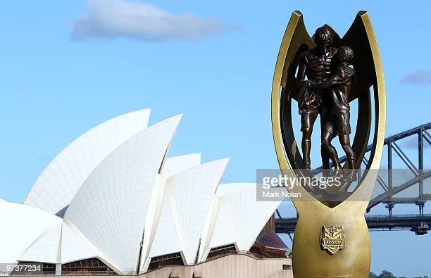 Premiership trophy replica is on display during the 2010 NRL Club Captains media call on Sydney Harbour on March 3 2010 in Sydney Australia