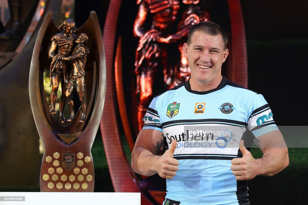 Premiership winning Sharks captain Paul Gallen is introduced during the 2017 NRL Season Launch at Martin Place on February 23, 2017 in Sydney, Australia.