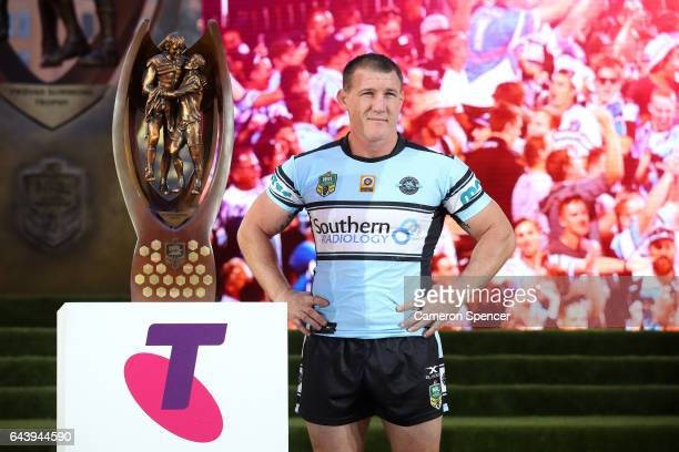 Premiership winning Sharks captain Paul Gallen is introduced during the 2017 NRL Season Launch at Martin Place on February 23 2017 in Sydney Australia