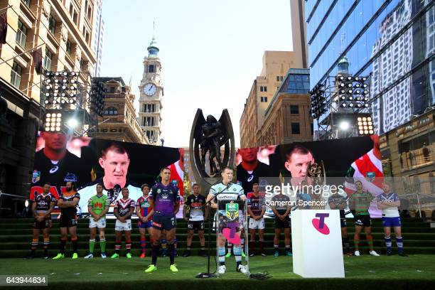 Premiership winning Sharks captain Paul Gallen talks during the 2017 NRL Season Launch at Martin Place on February 23 2017 in Sydney Australia