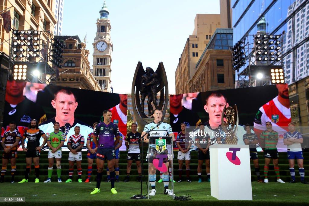 Premiership winning Sharks captain Paul Gallen talks during the 2017 NRL Season Launch at Martin Place on February 23, 2017 in Sydney, Australia.