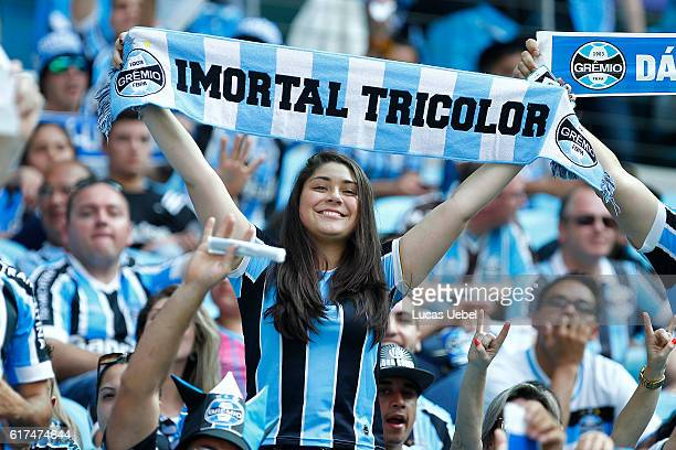Premio fans before the match Gremio v Internacional as part of Brasileirao Series A 2016 at Arena do Gremio on October 23 in Porto Alegre Brazil