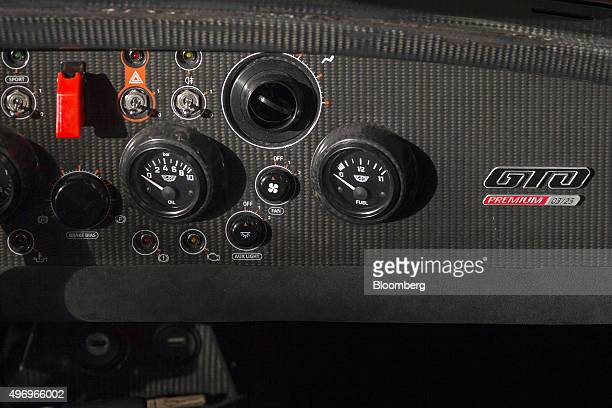 Premium numbered edition badge sits on the carbon fibre dashboard of a Donkervoort D8 GTO Premium automobile at the Donkervoort Automobielen BV...