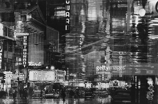 Times Square New York at night time seen through a window In black and white book
