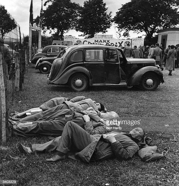Spectators at the Isle of Man Tourist Trophy races asleep on the grass Original Publication Picture Post 5069 The Island Race A Record Of The TT pub...