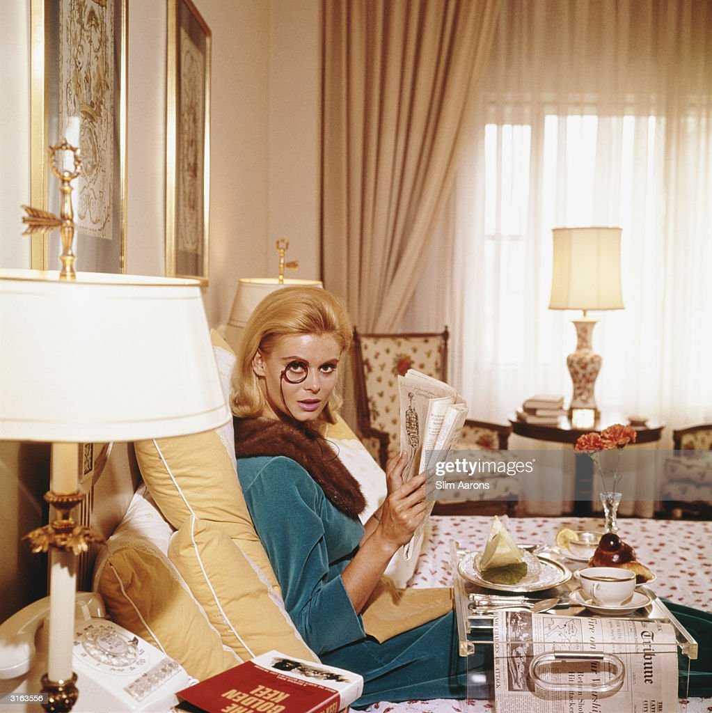 Premium Rates Apply Renata Boeck enjoying breakfast in bed at the Regency Hotel in New York 1964