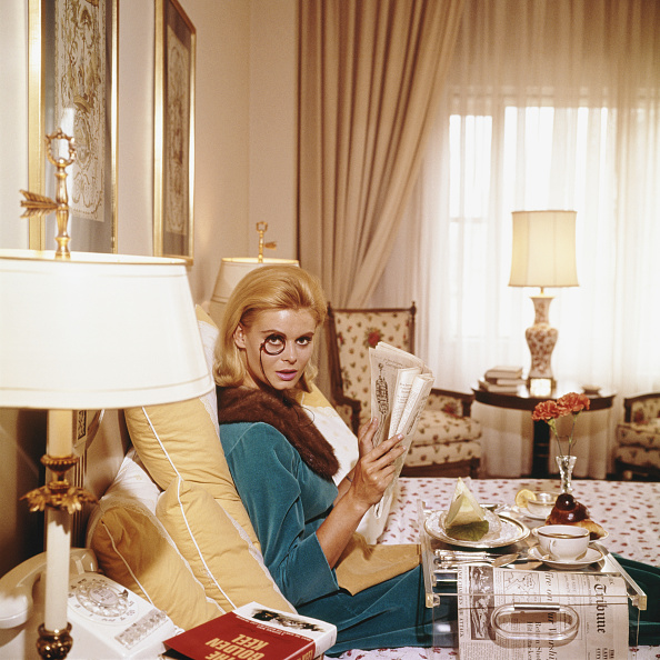 Premium Rates Apply Renata Boeck enjoying breakfast in bed at the Regency Hotel in New York 1964