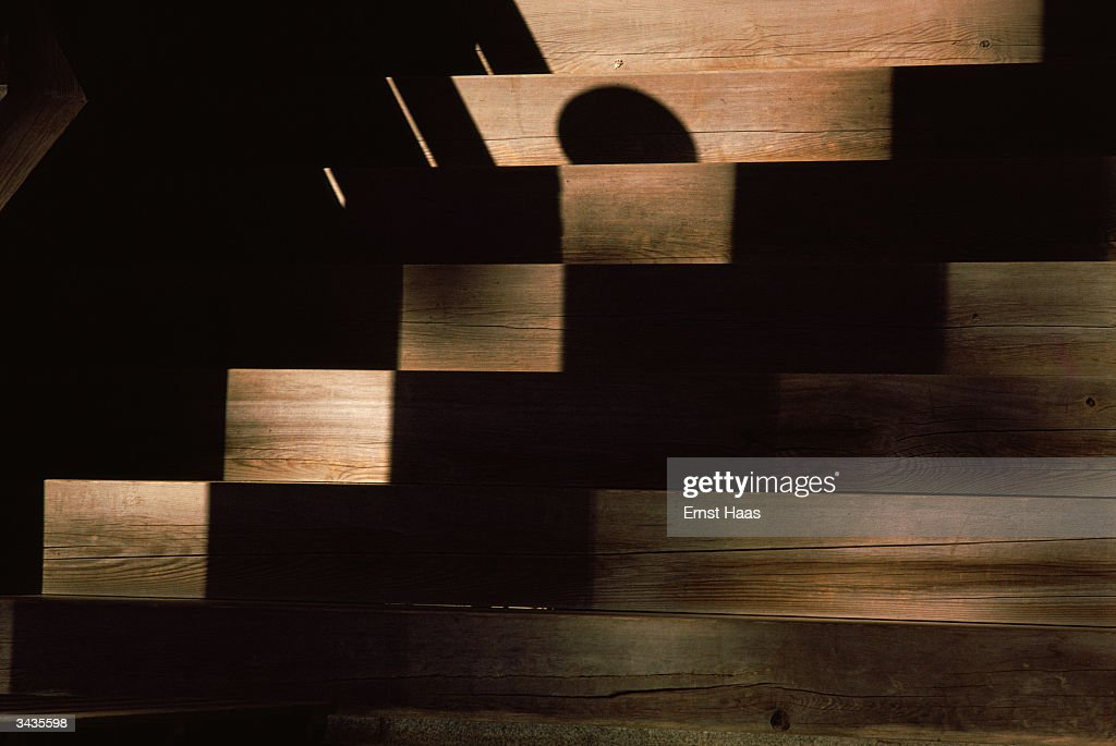 Premium Rates Apply. Shadow patterns on wooden steps to a temple at Koyasan, Japan, May 1984.