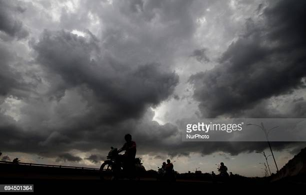 Premonsoon clouds hoveing in the sky atop of the eastern Indian state Odisha' capital city Bhubaneswar before the downpour