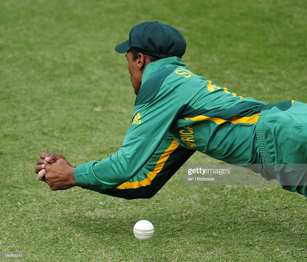 Prenelan Subrayen of South Africa drops a catch during the ICC U19 Cricket World Cup 2012 Semi Final match between Australia and South Africa at Tony Ireland Stadium on August 21, 2012 in Townsville, Australia.