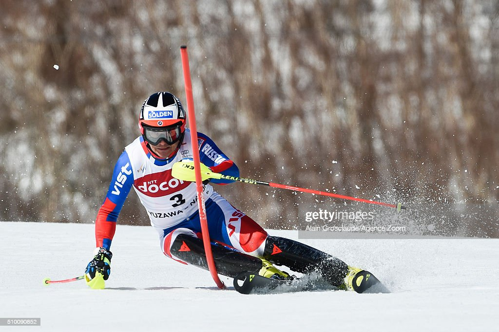 Prenom Alexander Khoroshilov of Russia competes during the Audi FIS Alpine Ski World Cup Men's Slalom on February 14, 2016 in Naeba, Japan.