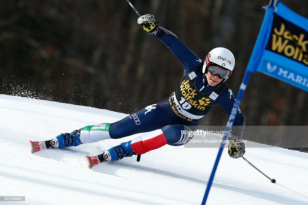 Prenom Nom of Pays competes during the Audi FIS Alpine Ski World Cup Women's Giant Slalom on January 30, 2016 in Maribor, Slovenia.