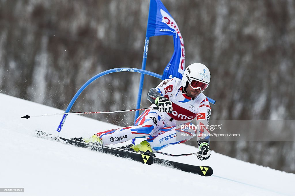 Prenom <a gi-track='captionPersonalityLinkClicked' href=/galleries/search?phrase=Thomas+Fanara&family=editorial&specificpeople=803965 ng-click='$event.stopPropagation()'>Thomas Fanara</a> of France competes during the Audi FIS Alpine Ski World Cup Men's Giant Slalom on February 13, 2016 in Naeba, Japan.