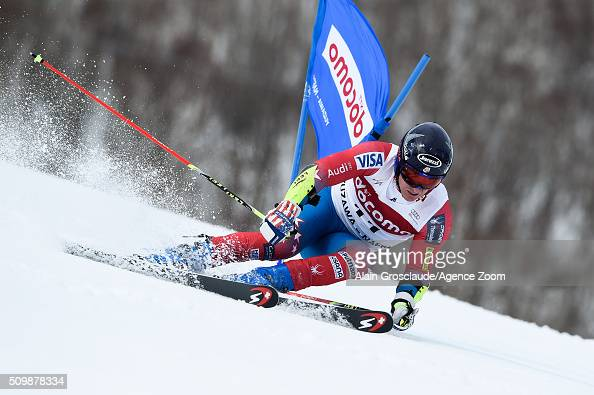 Prenom Tim Jitloff of the USA competes during the Audi FIS Alpine Ski World Cup Men's Giant Slalom on February 13 2016 in Naeba Japan