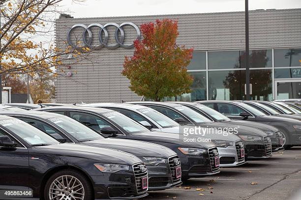 Preowned Audi vehicles are offered for sale at a dealership on November 5 2015 in Westmont Illinois Volkswagen which owns Audi and Porsche has...