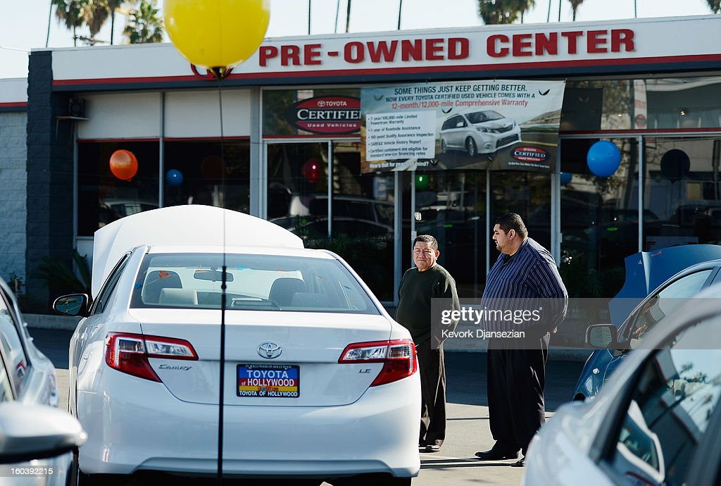 Pre-owned Toyota cars are available for sale on January 30, 2013 in Los Angeles, California. Toyota is recalling more than one million vehicles sold in the United States over faulty airbags and windshield wipers.