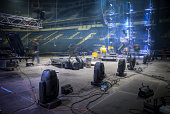 Technical preparation for the big concert indoors. Backstage