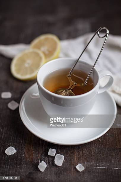 Preparation for tea with tea strainer in cup, slices of lemon, rock sugar on wooden table, studio