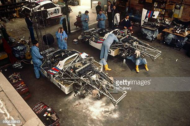 Preparation in rented garage of 4 Juergen Barth and Jacky Ickx Porsche 936 winners of Le Mans 11 June 1977