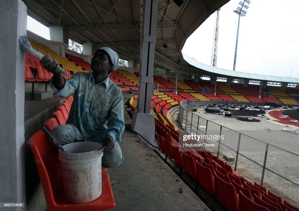 Preparation of Athletics Stadium Shiva Chhatrapati Krida Sankul Balewadi Pune on Saturday.