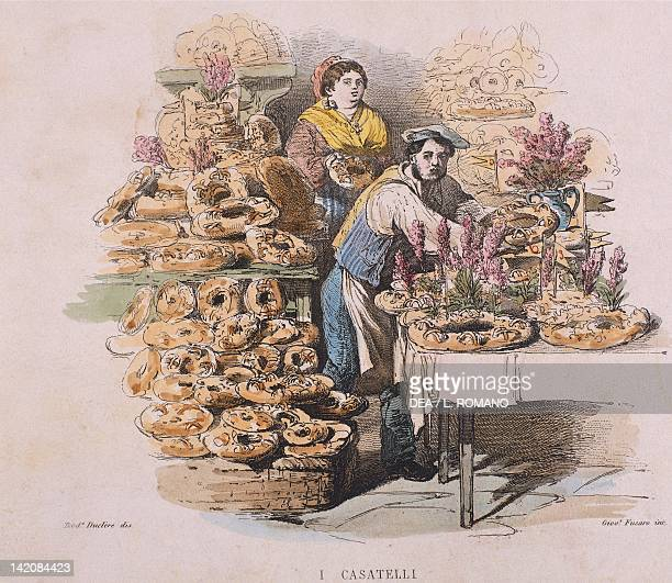 Preparation of casatiello in Naples by Francesco De Bourcard from Customs and Traditions of Naples and Contours Described and Paintings Italy 19th...