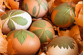 Preparation of easter eggs dyed with onion peels with a pattern of fresh leaves