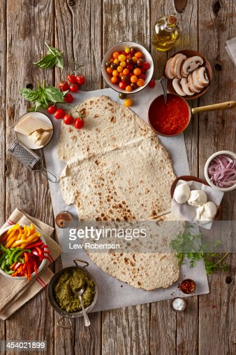 Preparation of making flatbread pizza